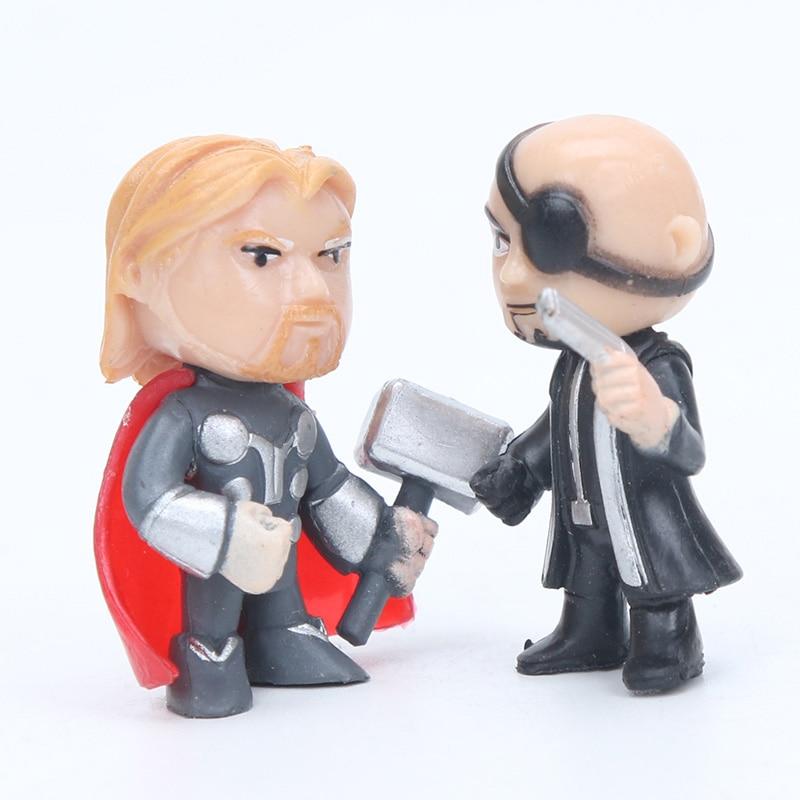 12stk Q-versjonen Avengers Figur Set Marvel Leker 4-5cm Iron Man Thor - Toy figurer - Bilde 5