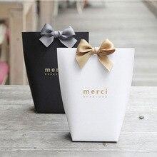 """5 шт. высококлассные черно-белые бронзовые """"Merci"""" Сумки для конфет французские спасибо Свадебные сувениры Подарочная коробка посылка на день рождения"""