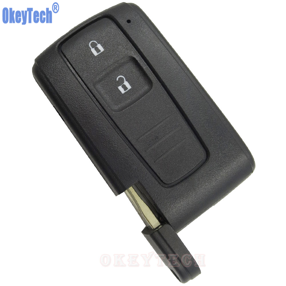 OkeyTech 2 Buttons Car Key Case Shell Fob For Toyota PRIUS 2004-2009 COROLLA VERSO Camry Replacement Smart Key Card with Blade