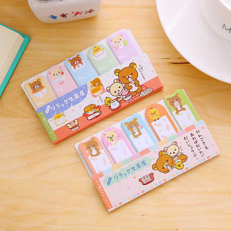 P29 Cute Kawaii Rilakkuma Self-Adhesive Memo Pads Marker Message Sticky Notes Decorative Bookmark School Office Supply