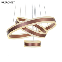 Современные 3 кольца круг светодиодный подвесные светильники для Гостиная столовая светодиодный Блеск розовое золото подвесной светильни