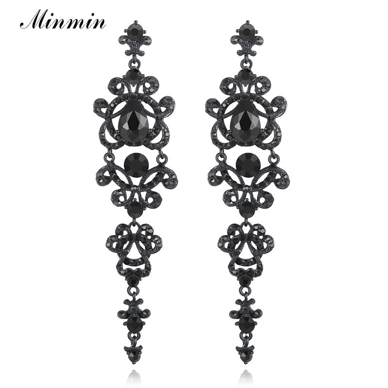 Minmin Trendy Black Crystal Long Earrings Vintage 2017 New Party Prom Fashion Jewelry for Women EH421
