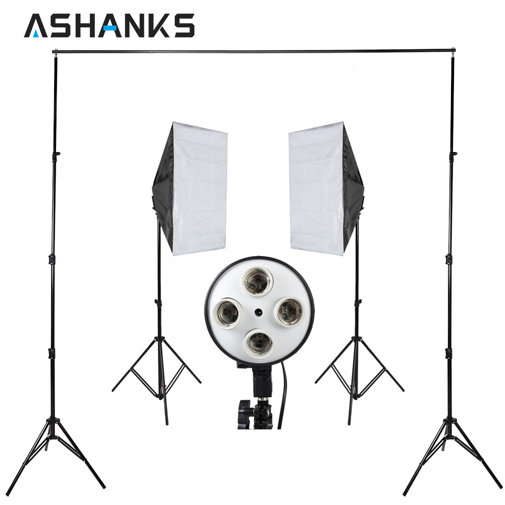 Photography Softbox Kit with Background Stand Backdrop Support Frame System 2M/6.5FT Light Stand Holder for Photo Studio Video