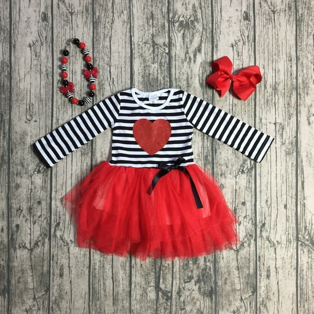 Baby Girls Fall Valentines Day Dress Clothes Children Stripes Top With Red Chiffon Dress V