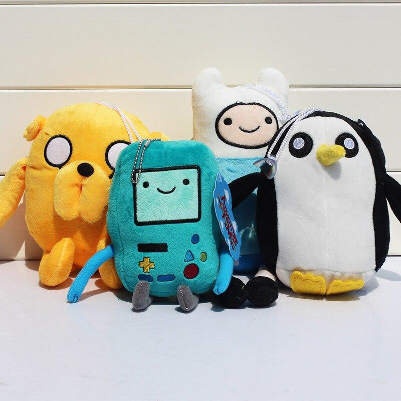 4pcs set Adventure time Plush Toys Jake Finn Beemo BMO Penguin Gunter Plush Dolls Toys Stuffed