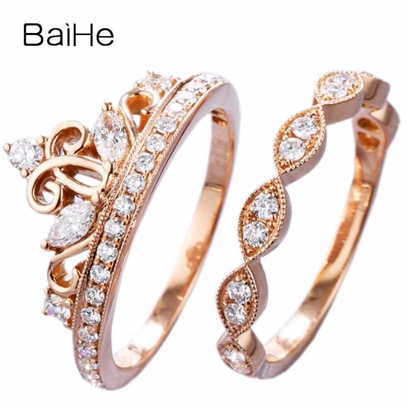 BAIHE Solid 14K Rose Gold 0.12ct Marquise Natural Diamonds 0.32ct Round Diamonds Wedding Women Trendy Fine Jewelry crown Ring