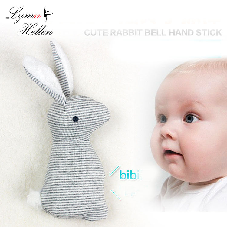 Happy Monkey Rabbit 20cm Baby Rattle Bunny Stuffed Animal Toy Plush Doll BIBI Bar Devices Squeaker Ring Infant Cute Bell  Stick