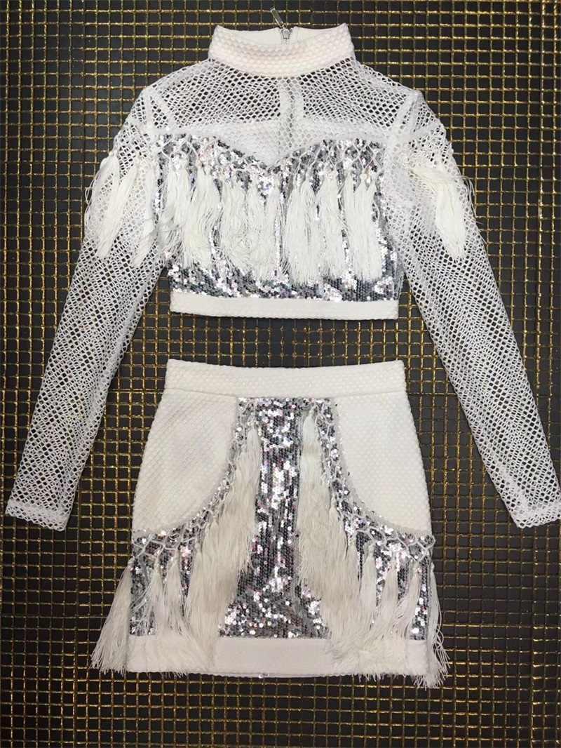 2018 новые модные женские туфли с высоким воротом и длинными рукавами ажурные белые Premium Silver блестками кисточкой Растениеводство Топ из двух частей Мини-блеск платье