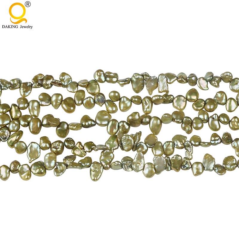 Высокое качество 5-6 мм зеленый свободный keshi жемчуг пресноводный keshi жемчуг 16 дюймов прядь для ожерелья ювелирное изделие