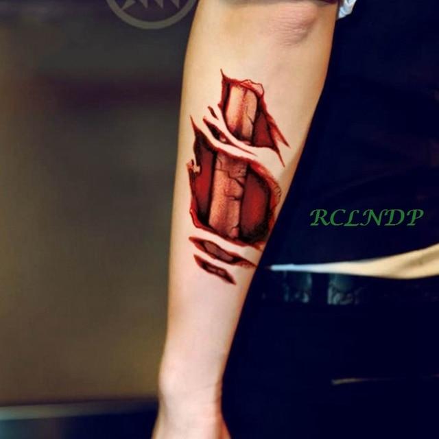 Waterdichte Tijdelijke Tattoo Sticker 3d Halloween Bone Schedel Rode