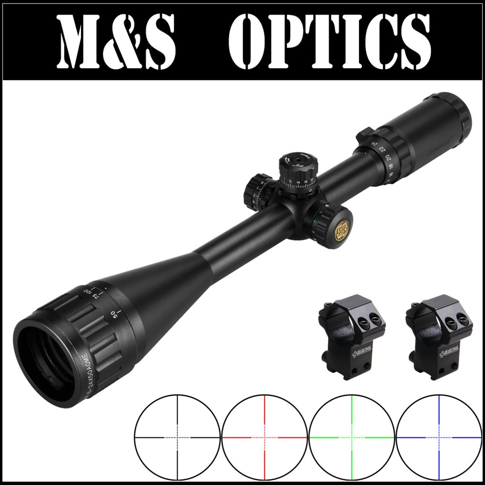 MARCOOL EST 6-24X50 AOIRGBL RGB illuminé Mil Dot réticule optique de chasse vue pour Airsoft Air Gun chasse fusil avec anneaux