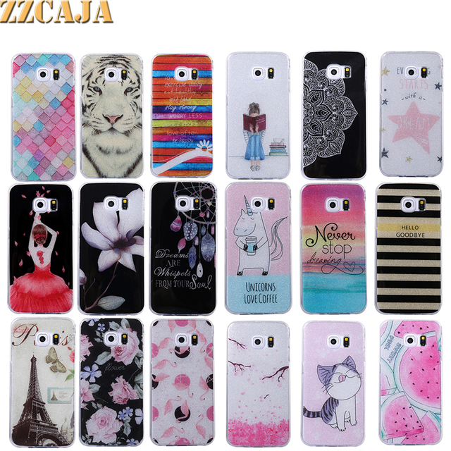277574050 ZZCAJA For Samsung Galaxy S6 edge Case Silicon Luxury Bling Shiny Cartoon  Dancer Girl Cute Kitty Tiger Rose Cover For Samsung S6