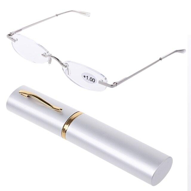 ba2e549c3f Gafas de lectura portátiles delgadas de Metal sin montura presbiópicas para  gafas de hiperopía Mini funda