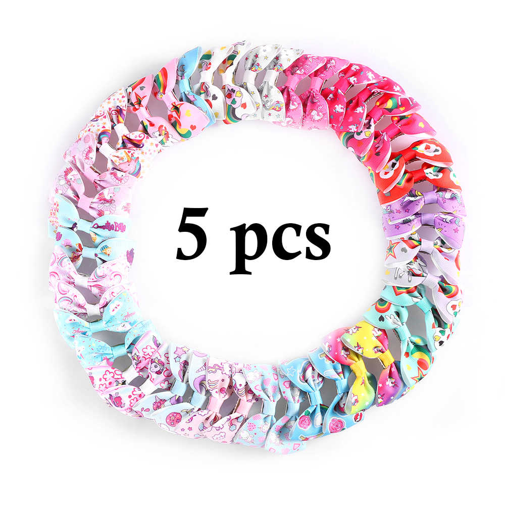 2/5/10 pcs Kids Unicorn Pattern Grosgrain Cute Girls Mini Ribbon Bows Hairpin Hair Bows Clips Multicolor Bows Hair Accessories
