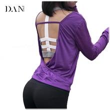 Danenjoy женщин Йога футболки быстросохнущая тренировки блузки спортивные майки открытой спиной Йога Футболки с длинным рукавом Activewear B029