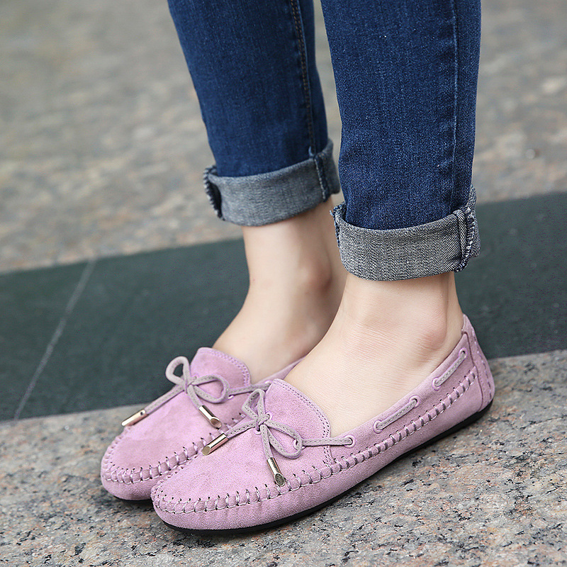 Spring Suede Women Flats Shoes Bowknot Peas Casual Lady  Shoes Comfortable Soft Sole Lazy Shoes Woman Loafers