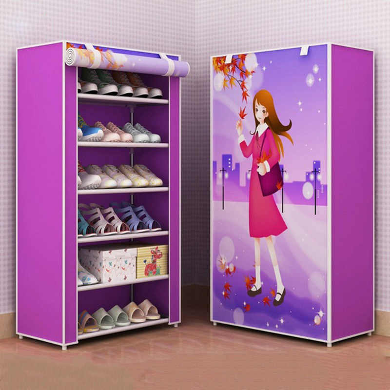 Nonwoven Fabric Simple Bedroom Dormitory Shoes Rack Detachable Shoes Organizer Closet Storage Living Room Dustproof Shoe Shelf