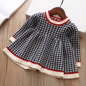 Image 2 - 女の赤ちゃんドレス秋冬ニットベビードレスチェック柄長袖クリスマス誕生日の幼児コットンベビー服