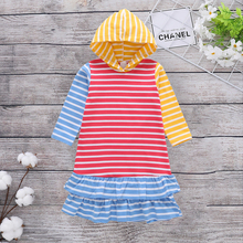 Causal Colorful Stripe Flounce Decor Hooded Long-sleeve Dress flounce sleeve gingham top