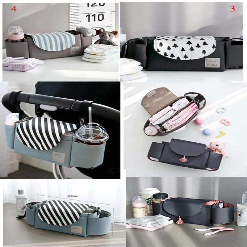 Large Capacity Baby Stroller Hanging Bag Multi-function Diaper Nappy Milk Bottle Storage Bag Trolley Mummy Accessory Bags