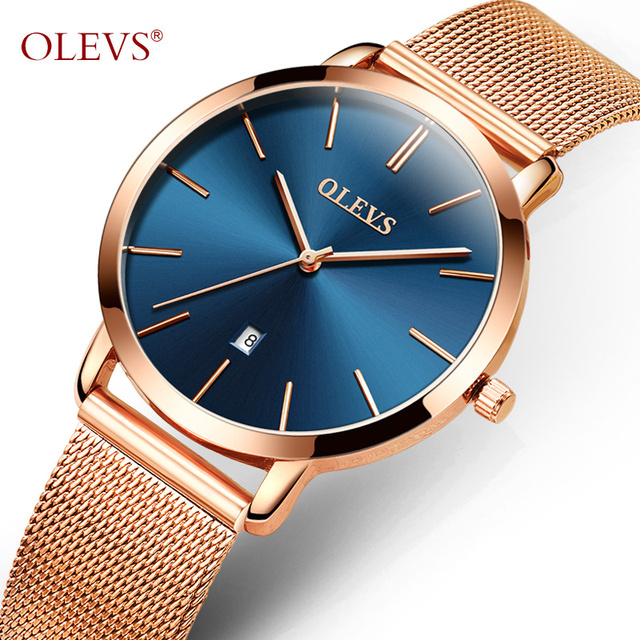 OLEVS Ultrathin Rose Gold Watch For Women Calendar Mesh Steel Strap Wristwatch D