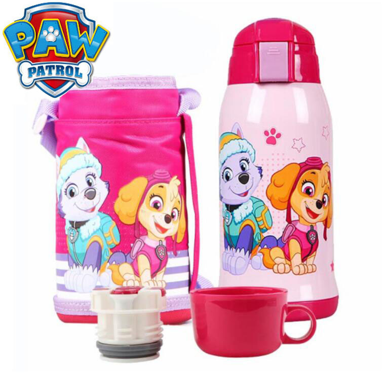 1pc Hot Genuine Paw patrol Children Cartoon Vacuum Flask 500ml double lid design with straps 304 Stainless Steel Insulation Cup Щенячий патруль