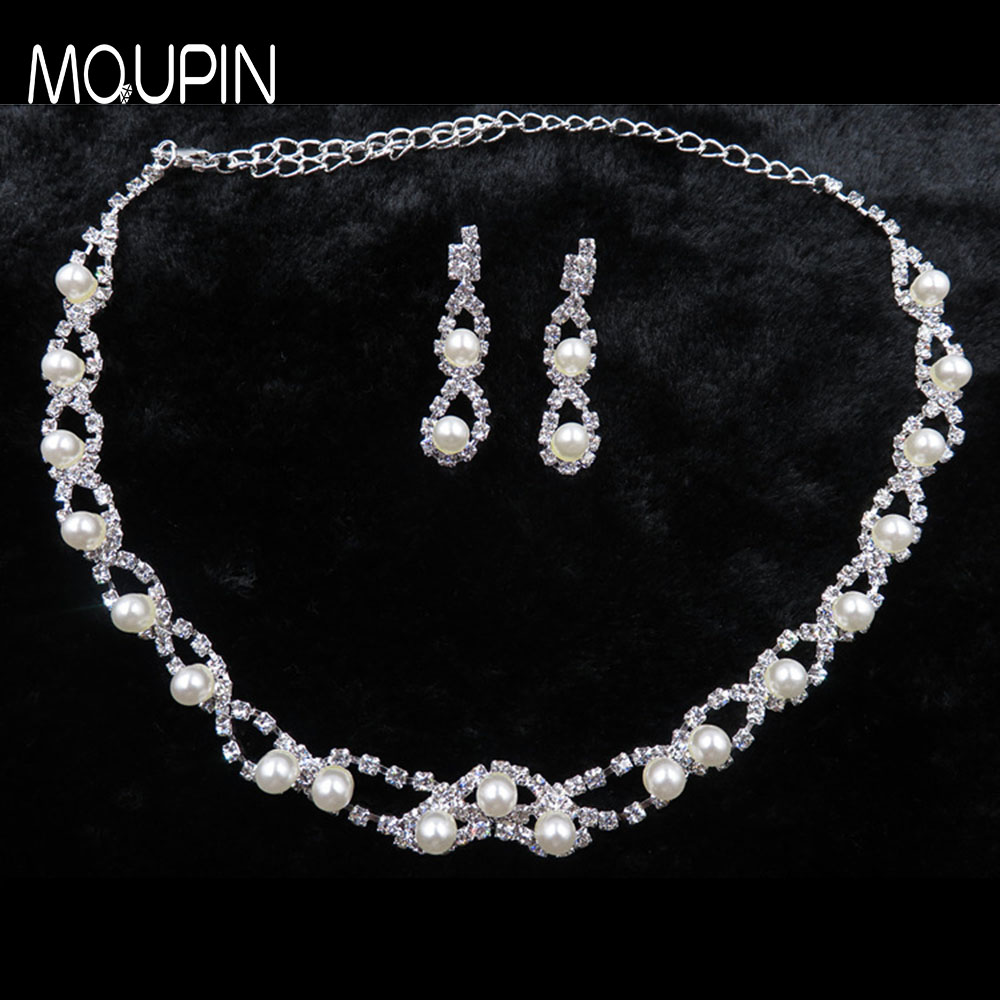 MQUPIN Fashion Simulated Pearl Jewelry Sets Women Crystal Wedding Bridal Silver Chain Pendant Chocke Necklace Earring set
