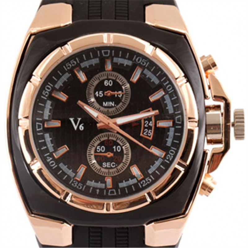 V6 Black Silicone Band Men Sport Quartz Watch Best Casual Collection Class Luxury Gold Steel Case Analog Dial Male Gift Colck super speed v6 v0198 men s fashion silicone band analog quartz watch black tangerine 1 x lr626