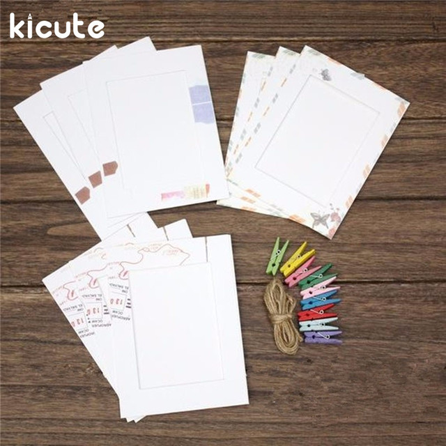 Kicute 9pcs One Set Mini Colored Spring Wood Clips Photo Paper Peg Pin Clothespin Craft
