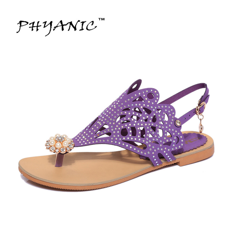 PHYANIC 2017 Summer Women Gladiator Sandals Summer Style Flip Flops Butterfly Rhinestone Detaited Flats Shoes Woman Size 35-39 phyanic 2017 summer gladiator sandals straw platform creepers silver shoes woman buckle casual women flats shoes phy4046