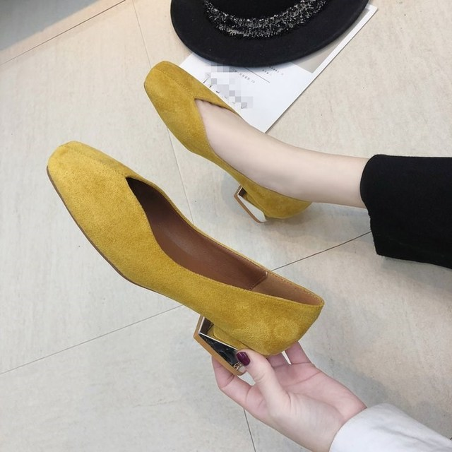EOEODOIT Fashion Sexy V Mouth Pumps Low Square Heel Square Toe Casual Shoes Spring Summer Women Office Lady Footwear