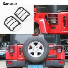 Sansour 2pcs For Jeep Wrangler JK 07 08 09 10 11 12 13 14 15 16 Black Metal Billet Tail Light Guards Covers Protector