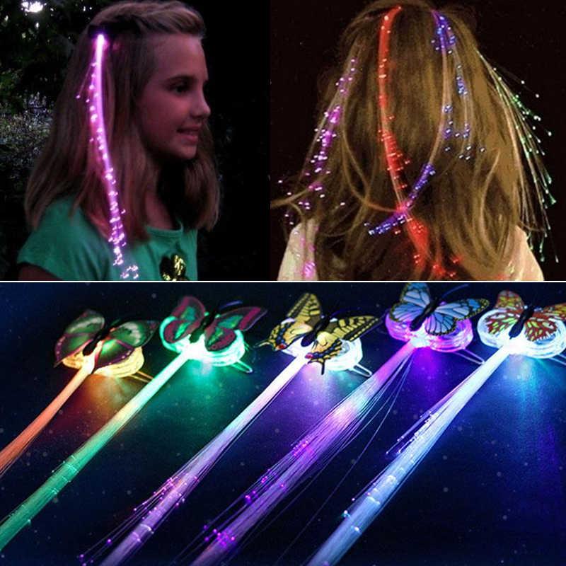 7PCS LED Brillante Glow In Fibra Della Treccia Dei Capelli Della Forcella Della Clip di Farfalla Luminosa Fascia Luminescente LED LED Del Partito Di Natale del Regalo