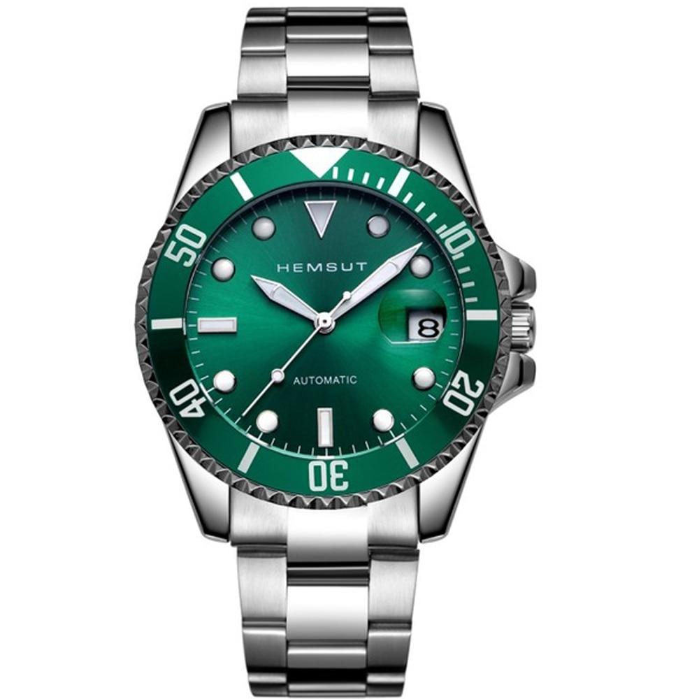 HEMSUT Men s Mechanical Watches Green Bezel Classic Design Stainless Steel Famous Luxury Top Brand New