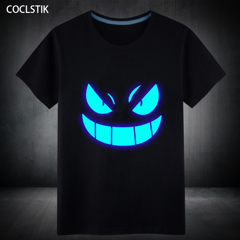 100% Cotton Mens Summer Short T-Shirt Blue Fluorescent Casual Luminous T-shirts Men Tshirt Male Fitness Tops Plus Size S-5XL