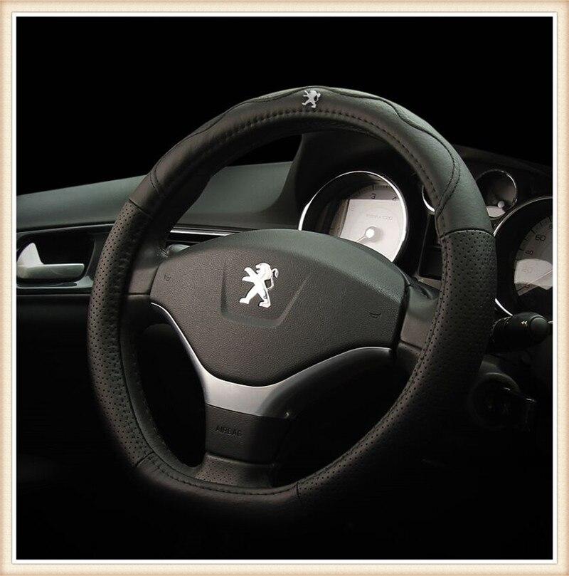 VENTE CHAUDE en cuir Véritable Couvre Volant de Voiture pour Peugeot 408/307/308 s/3008/ 301/508