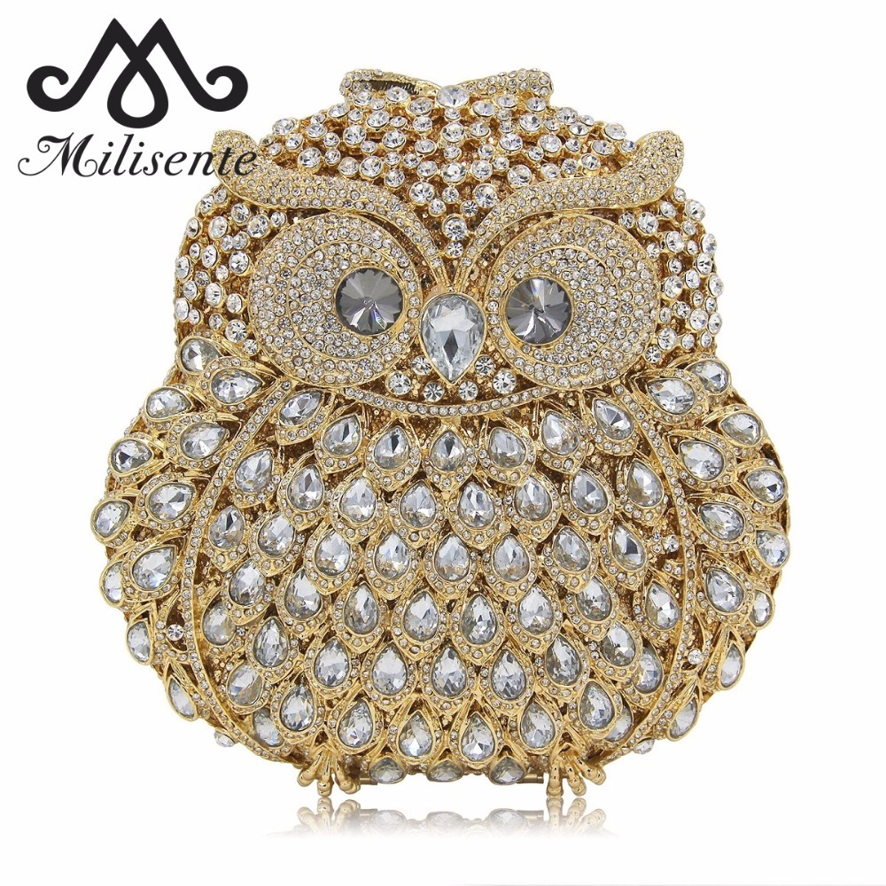 Milisente Women Evening Bags Ladies Owl Shape Crystal Clutch Bag Female Gold Sliver Pink Color Party Clutches free shipping a15 48 blue color fashion top crystal stones ring clutches bags for ladies nice party bag