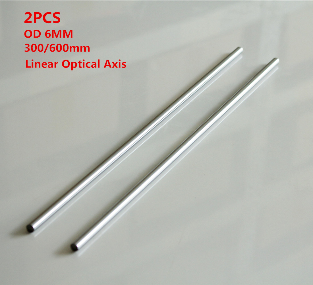 2PCS Optical Axis OD 6mm x 300/600mm Cylinder Liner Rail Linear Chrome Shaft Smooth Rod Bar For 3D Printer & CNC 1pc od 25mm x 600mm cylinder liner rail linear shaft optical axis