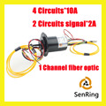 1 Channel fiber optic slip ring with 4 circuits 10A and 2 circuits 2A of optic-electrical slip ring