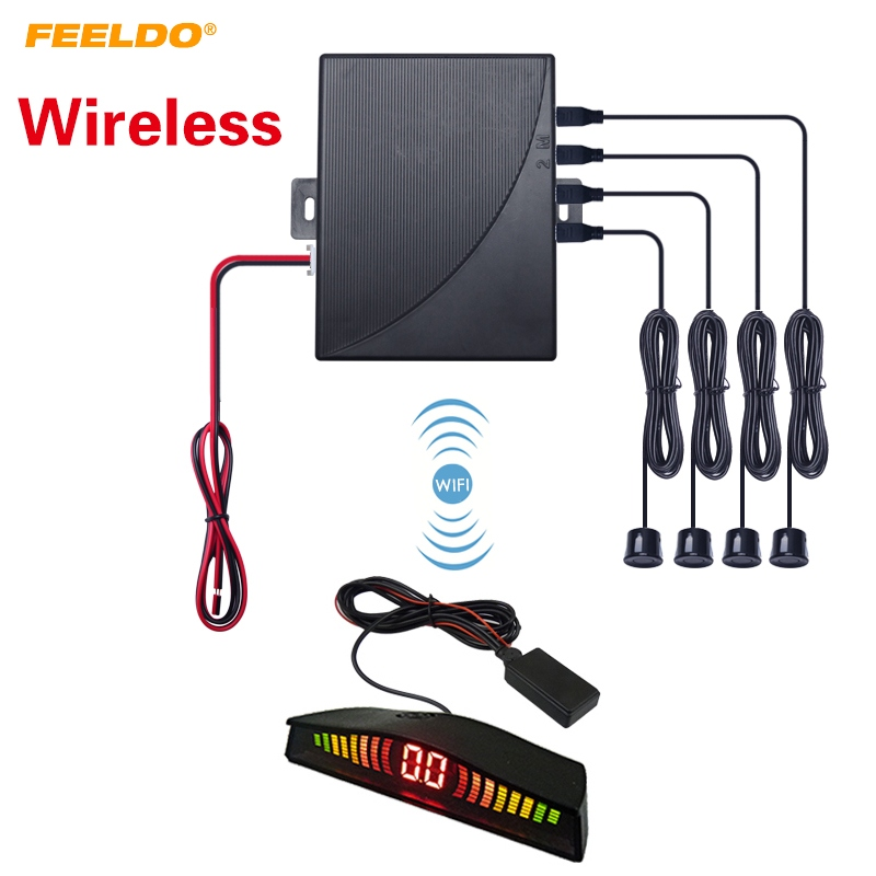 FEELDO 1 Conjunto Carro Auto Parktronic LED Wireless Sensor de Estacionamento Ajuda 4-Sensor Sistema Detector de Radar Backup Monitor