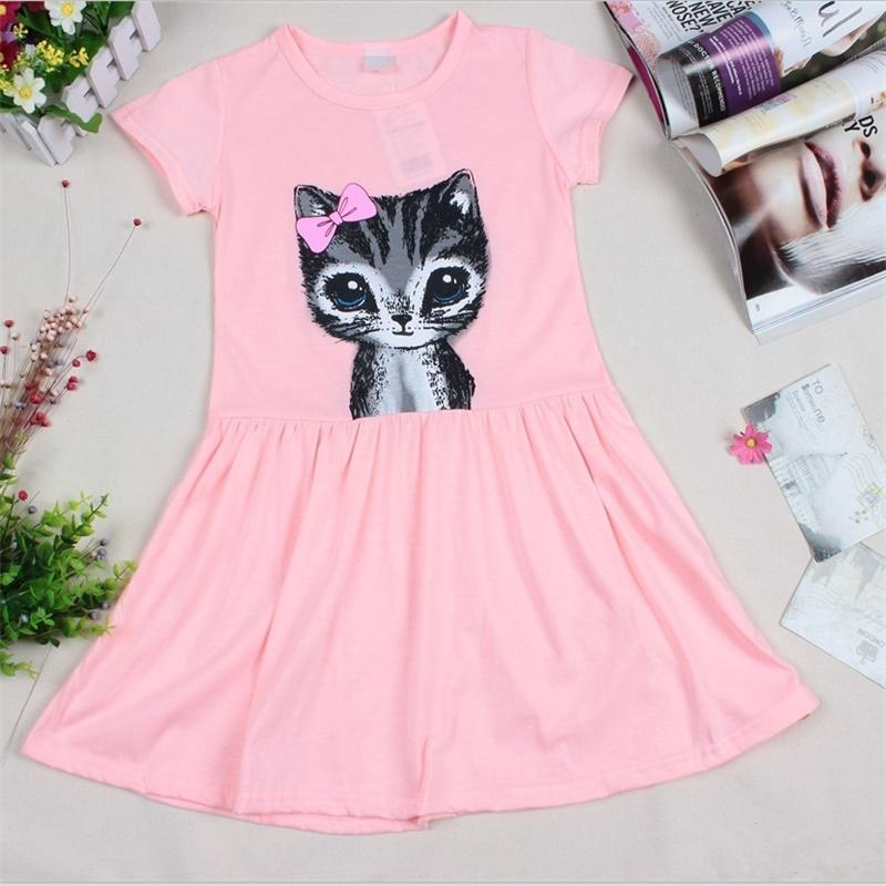 2017 New Arrival Summer Girl Dress Cat Print Grey Baby Girl Dress Children Clothing Children Dress 2-7years кидз напиток с черносливом 5г 9 саше