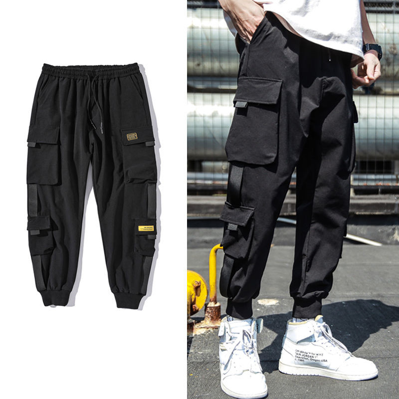 Mens Pants Ribbons Streetwear Black Hip-Hop Multi-Pocket Casual M-3XL