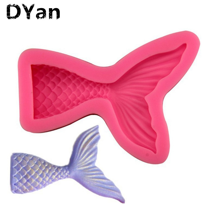 Two Size Mermaid Tail Mold Fondant Cake Silicone Mold Cupcake Kitchen Baking Tools Gum Paste Chocolate Candy Molds A1127
