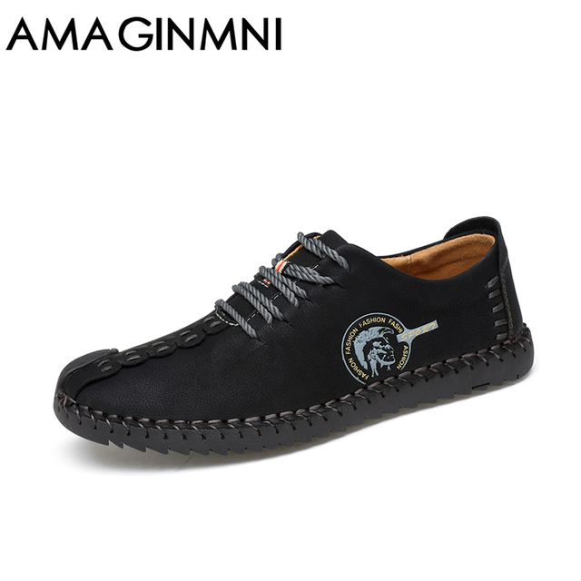 AMAGINMNI 2017 New Comfortable Casual Shoes Loafers Men Shoes Quality Split Leather Shoes Men Flats Hot Sale Moccasins Shoes 2