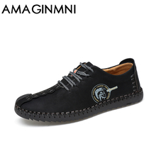 AMAGINMNI 2018 New Comfortable Casual Shoes Loafers Men Shoes Quality Split Leather Shoes Men Flats Hot Sale Moccasins Shoes