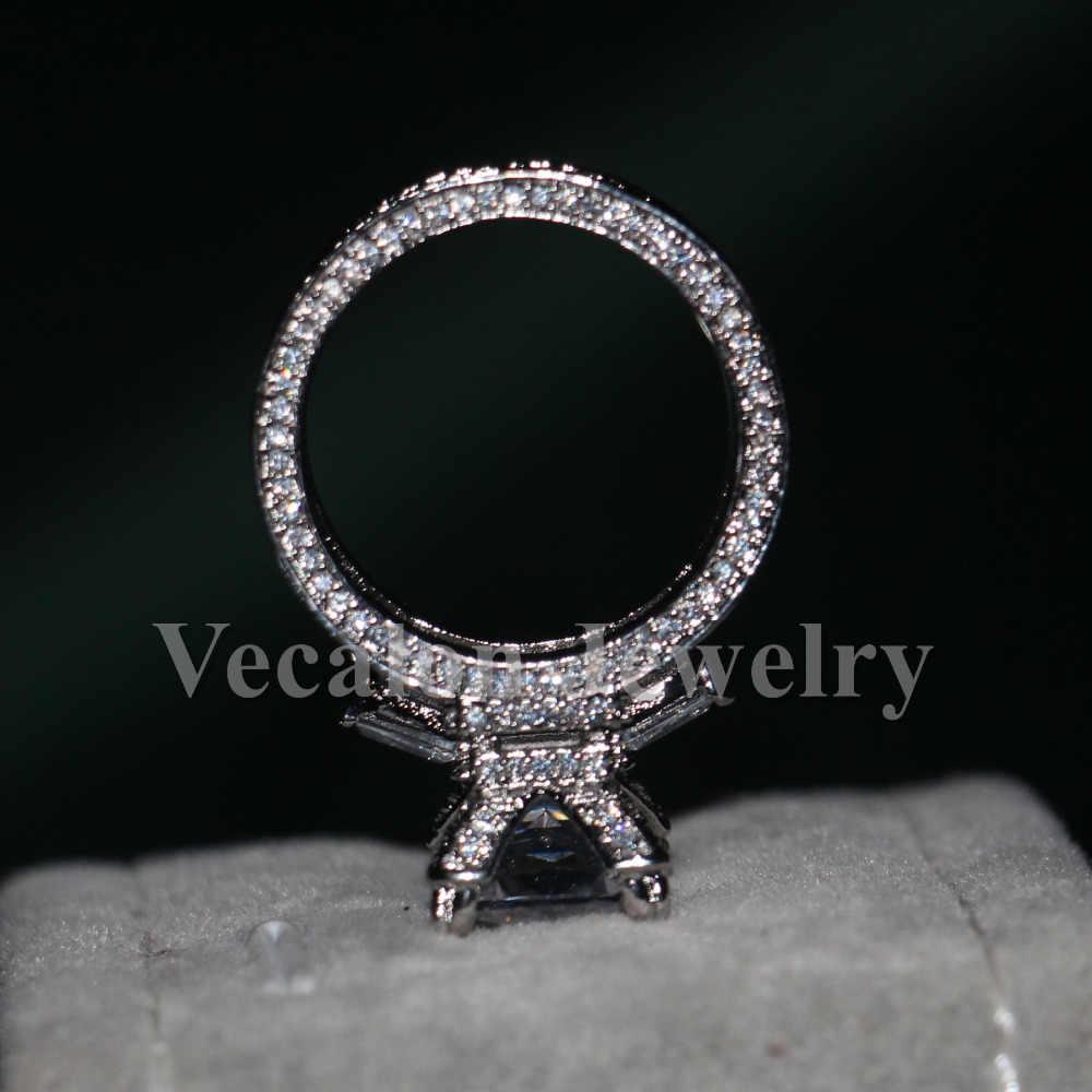 Vecalon Эйфелева башня женское большое Ювелирное кольцо 10ct фианит aaaaa камень 300 шт. Cz стерлингового серебра 925 Обручальное обручальное кольцо