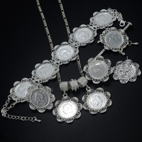 Bright Silver Ethiopian Jewelry Set Pendan Necklaces Hair Pin Ring Bracele Earrings Ethiopia Silver Plated Eritrea