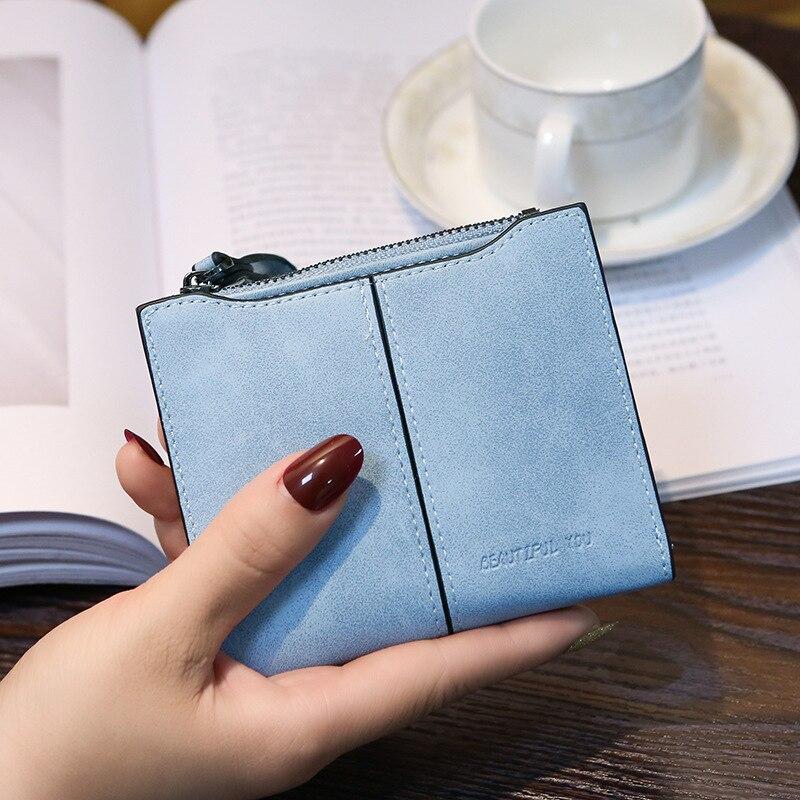 Wallet Women Blue Green Black Brown Slim Women Purse Vintage Zipper Hasp Wallet Female Coin Purse Holder New Brief Ladies Wallet