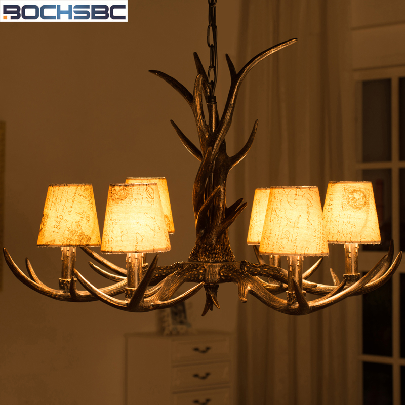 BOCHSBC Resin Restaurant Metal Chain Lamp With Fabric Lampshade 6 Heads Antler Pendant Light for Chrismas Parlor Dinning Room