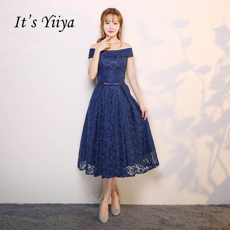 It's YiiYa Blue Off Shoulder Bow A-line Vintage Tea-Length Lace Up   Prom   Gown Simple Lace Luxury   Prom     Dresses   Dancing Party X053